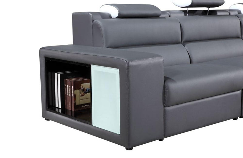 Polaris Contemporary Bonded Leather Sectional Sofa Gray