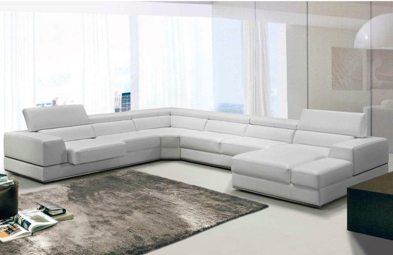 Divani Casa Pella Modern White  Bonded Leather Sectional Sofa