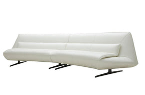 Gunnar Modern White Leather Sofa
