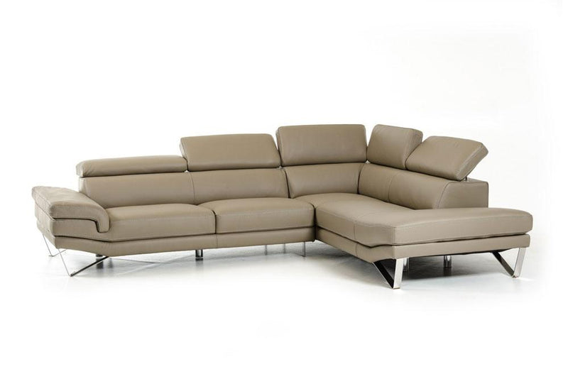 Aria Modern Gray Italian Leather Sectional Sofa