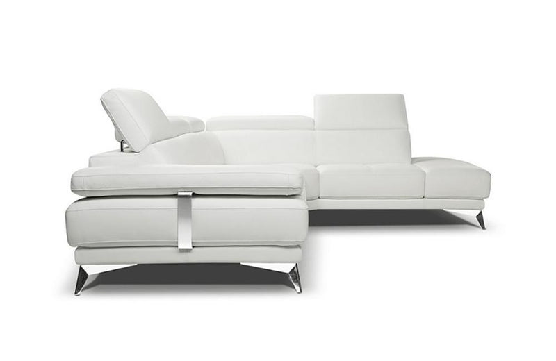 Gael White Leather Sectional Sofa