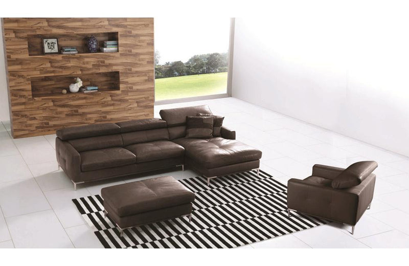 Stefano Brown Leather Sectional with Chair & Ottoman