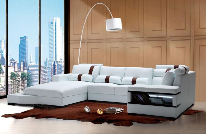 Breanna Contemporary Bonded Leather Sectional Sofa With Light