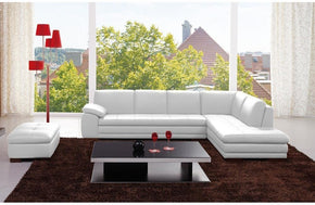Abilene White Leather Sectional Sofa