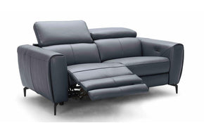 Scuzzo Blue Gray Reclining Leather Loveseat
