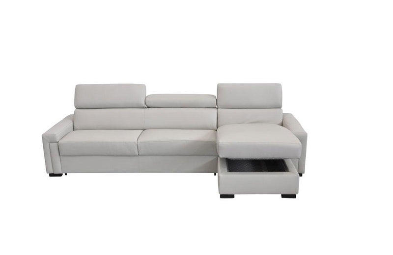Sacha Modern Leather Reversible Sofa Bed Sectional Light Gray
