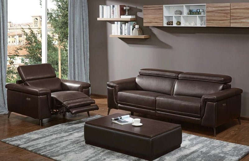 Everly Brown Premium Leather Sofa Loveseat and Chair