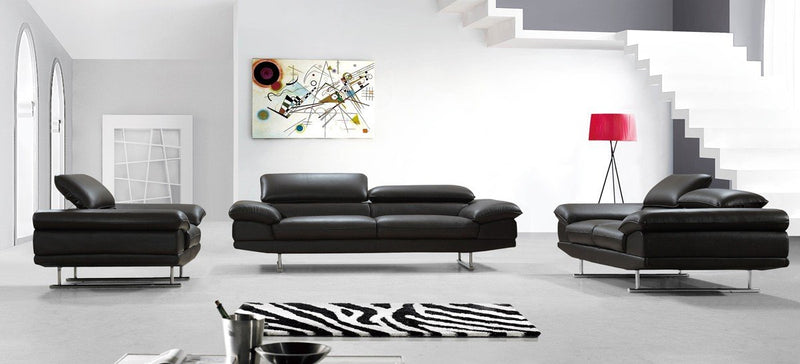 Andy Modern Brown Leather Sofa Set