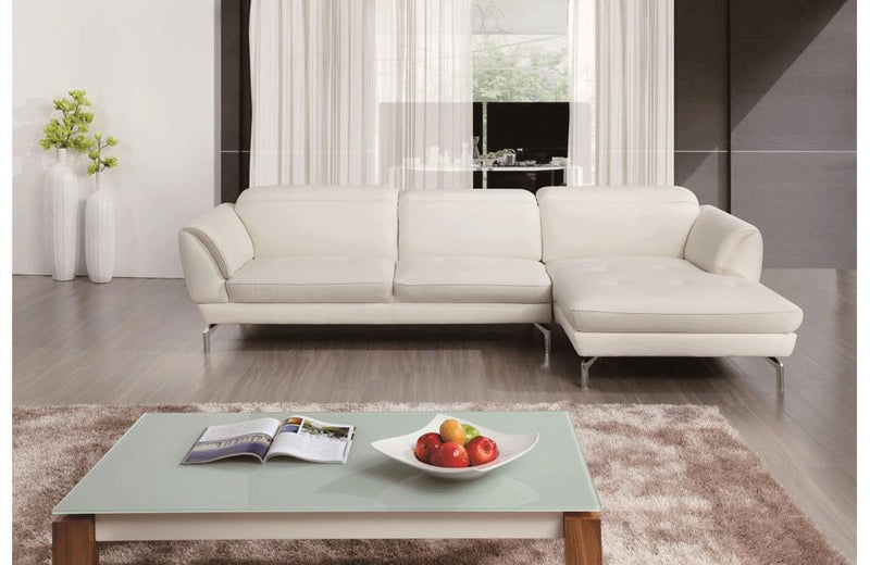 Nicola White Leather Sectional Sofa