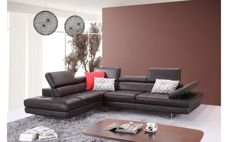 GIOVANNA Brown Leather Sectional Sofa