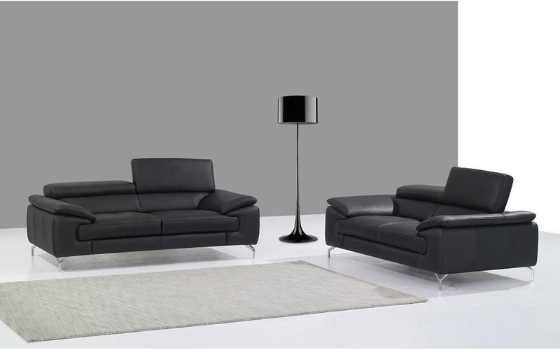 A973 Premium Black Leather Sofa Set