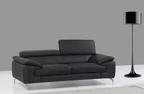 William Premium Leather Loveseat in Black