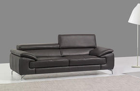 William Premium Leather Loveseat in Slate Grey