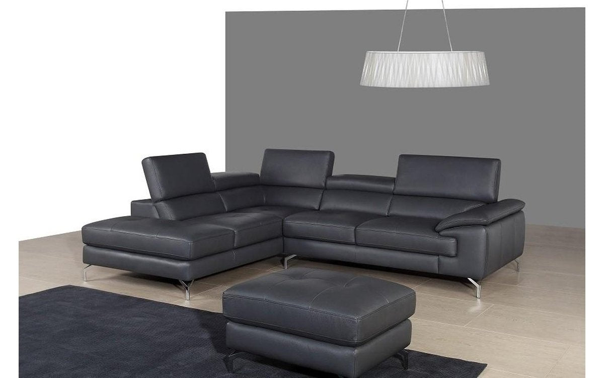 A973 Black Premium Leather Sectional Sofa