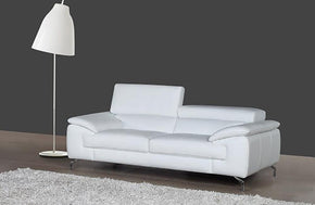 William Premium Leather Loveseat in White