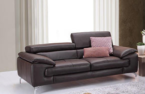 William Premium Leather Loveseat in Coffee
