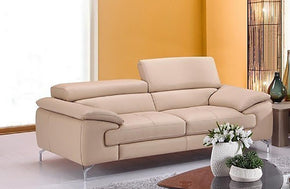 William Premium Leather Loveseat in Peanut