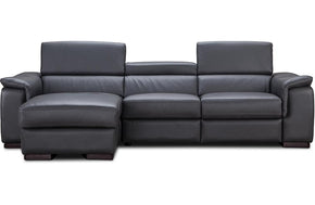 Alfie Gray Leather Reclining Sectional Sofa