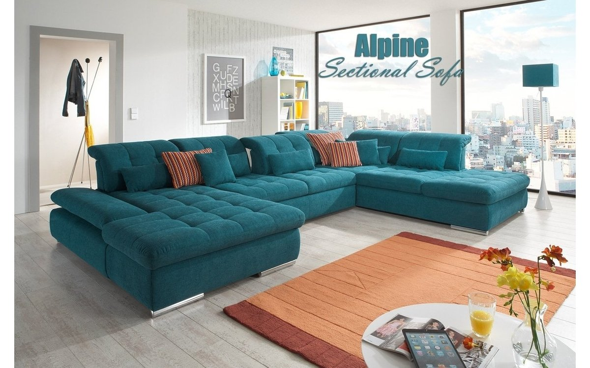 Alpine Fabric Sectional Sofa in Teal Buy Online in Store ...