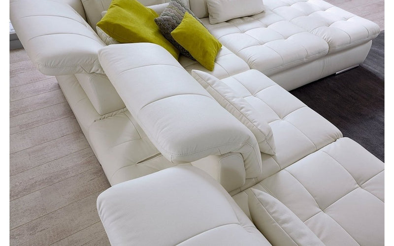 Alpine Sectional Sofa in Punch White Leather