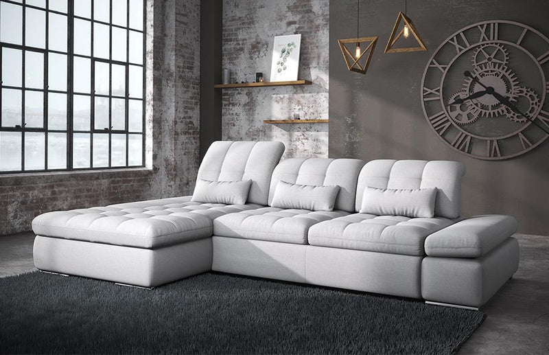 Alpine Fabric Sectional Sofa Bed and Storage in Light Grey Stain Resistant Fabric