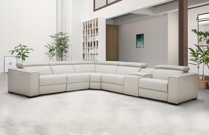 Bellagio Light Gray Leather Sectional with Recliners