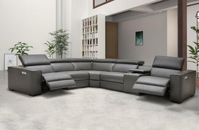 Bellagio Grey leather sectional with recliners