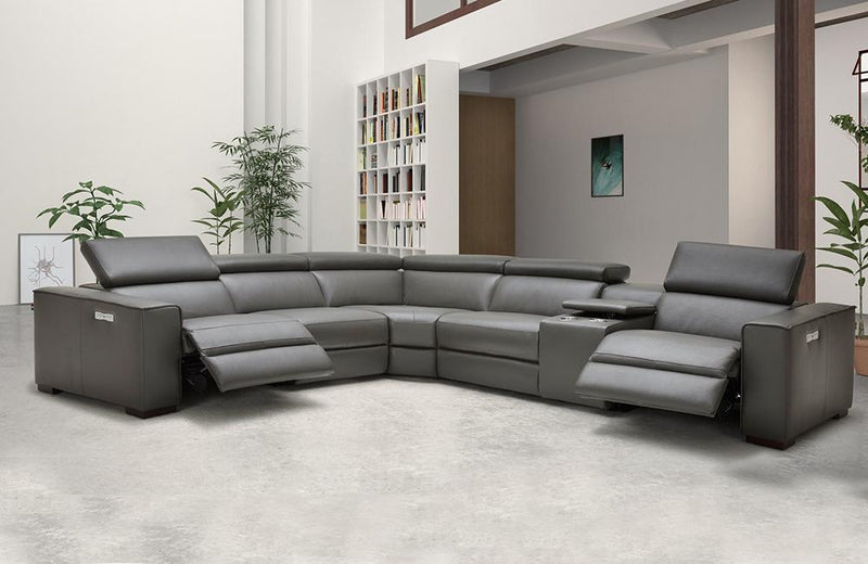 Bellagio Gray Leather Sectional with Recliners