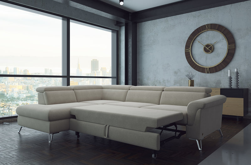 Berlin Beige Fabric Sectional with bed and storage