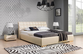 Berta Platform Bed in Light Beige by Nordholtz