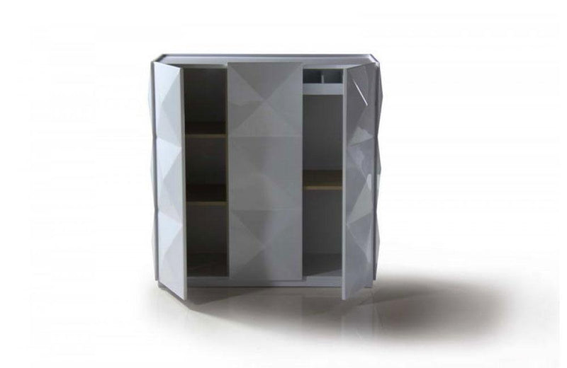 Eva White Lacquer Square 3 Door Cabinet