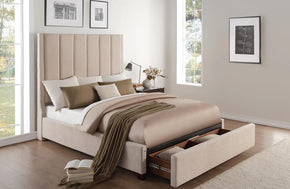 Celine Beige Storage Bed