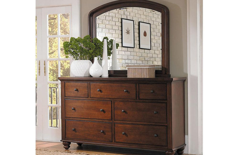 Cambridge Double Dresser and Mirror Brown Cherry