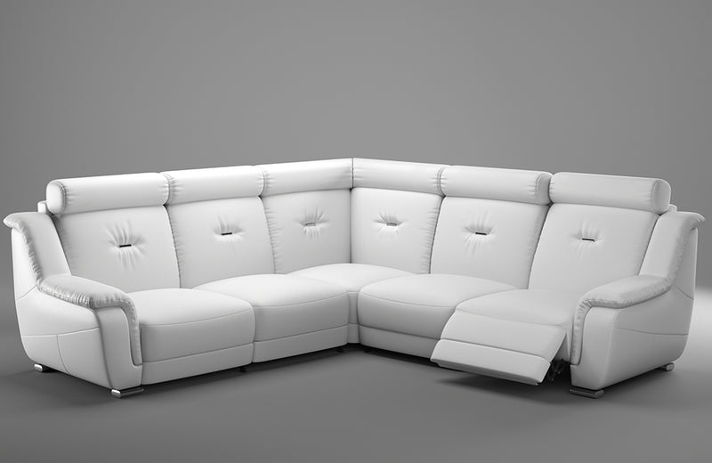 Dresden White Leather Sectional