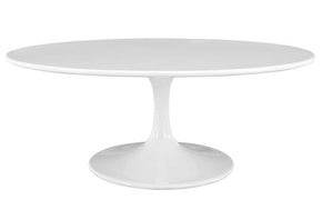 "Zane 42"" Oval-Shaped Wood Top Coffee Table in White"