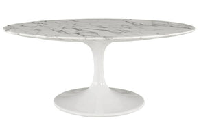 "Ricardo 2"" Oval-Shaped Artificial Marble Coffee Table in White"