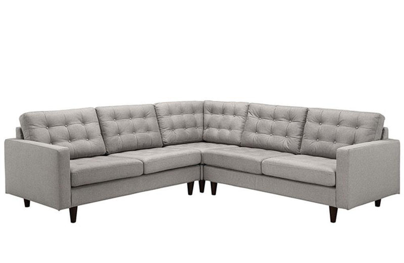 Alivia Empress 3 Piece Upholstered Fabric Sectional Sofa Set In Granite