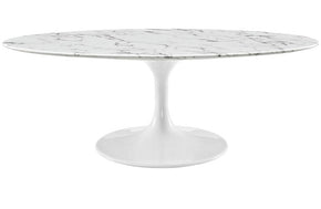 "Theodore 48"" Oval-Shaped Artificial Marble Coffee Table in White"