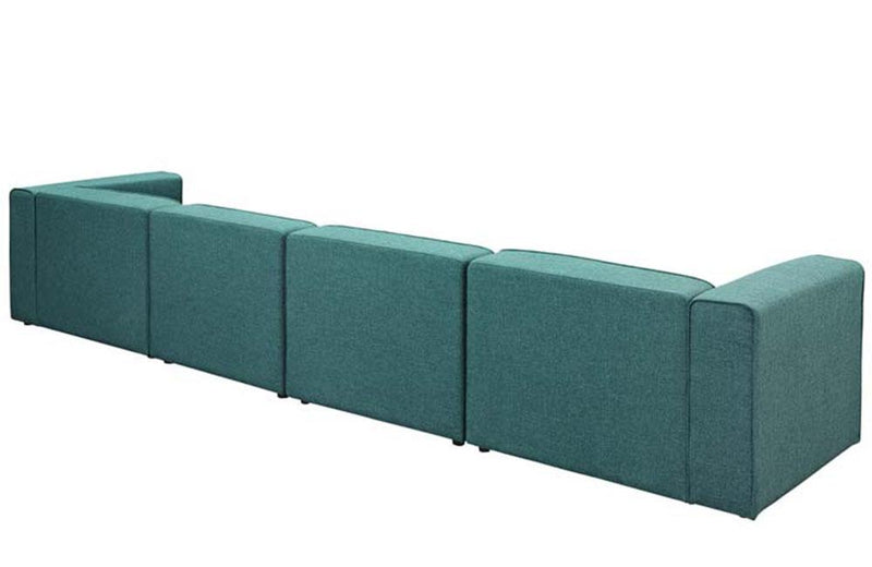 Cora Mingle 4 Piece Upholstered Fabric Sectional Sofa Set