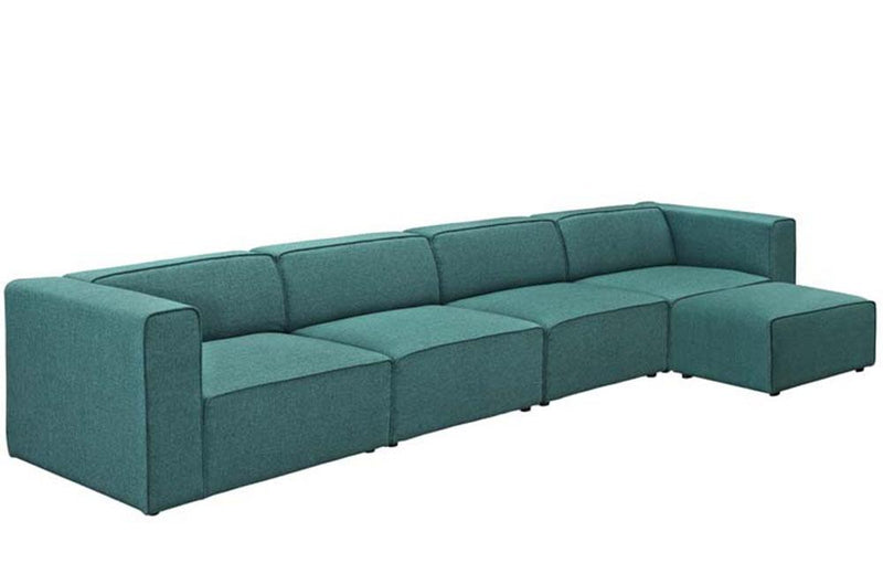 Willow Mingle 5 Piece Upholstered Fabric Sectional Sofa Set