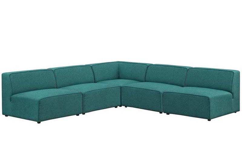 Diana Mingle 5 Piece Upholstered Fabric Armless Sectional Sofa Set