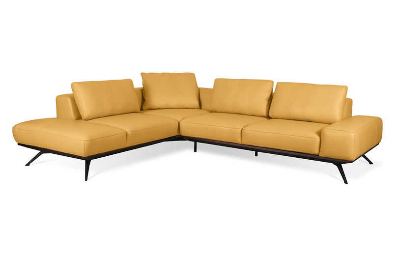 Elise Yellow Mid Century-Modern Leather Sectional
