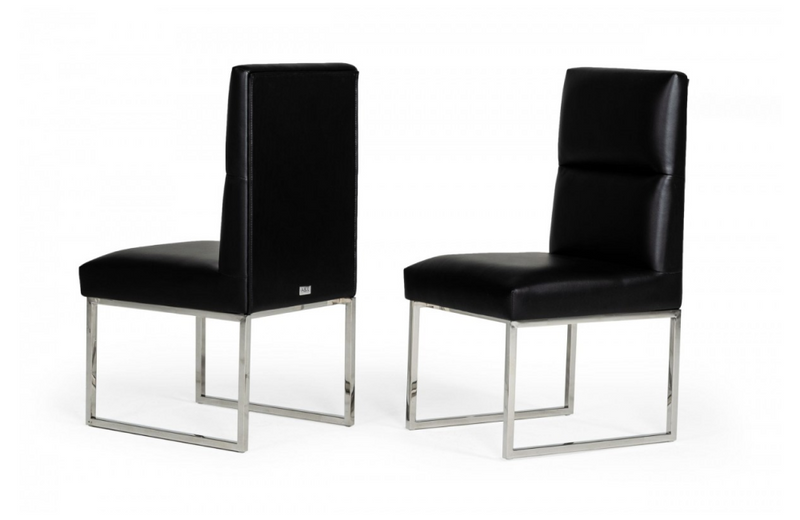 Carlito - Modern Black Leatherette Dining Chair (set of 2)