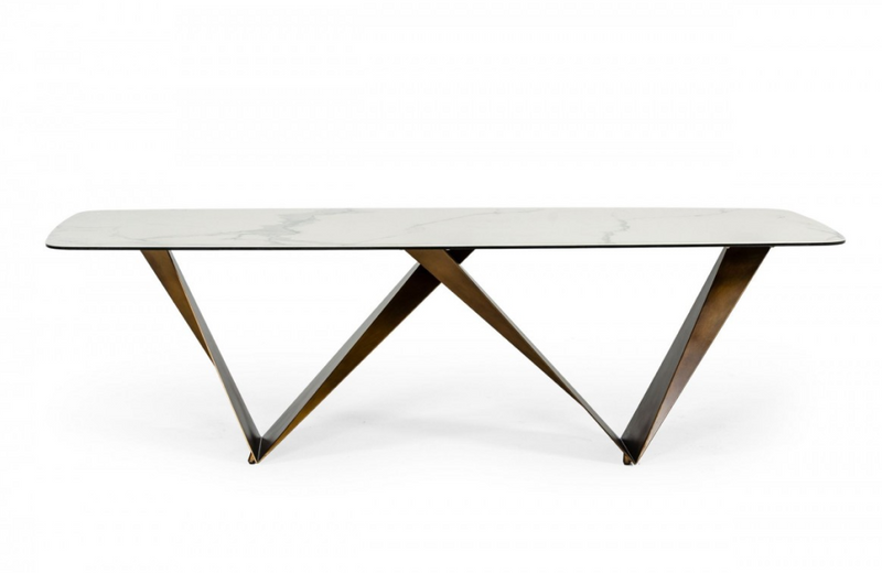 Milena - Modern White Ceramic & Brushed Brown Dining Table