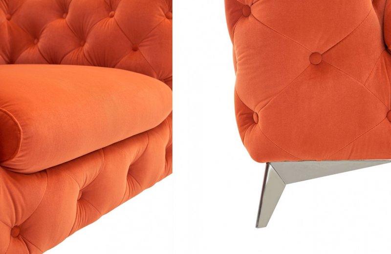Downey - Modern Orange Fabric Sofa