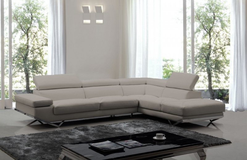 Portland - Modern Medium Grey Teco Leather Sectional Sofa