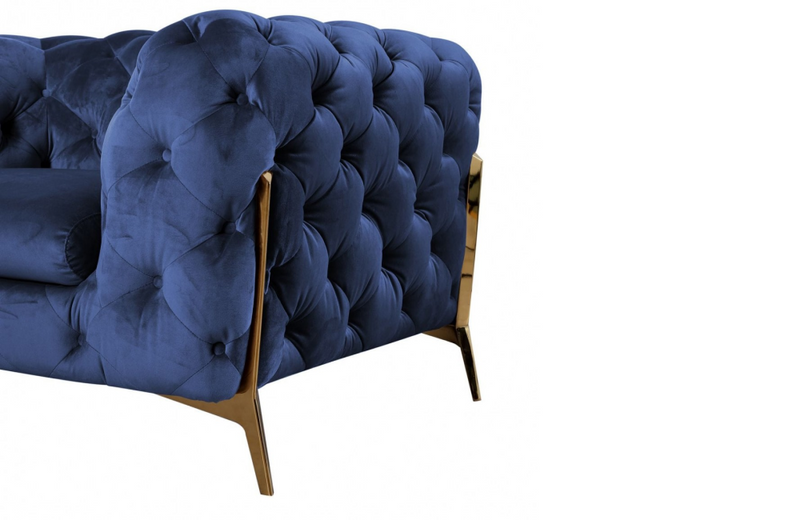 Santa Ana - Transitional Dark Blue Fabric Loveseat
