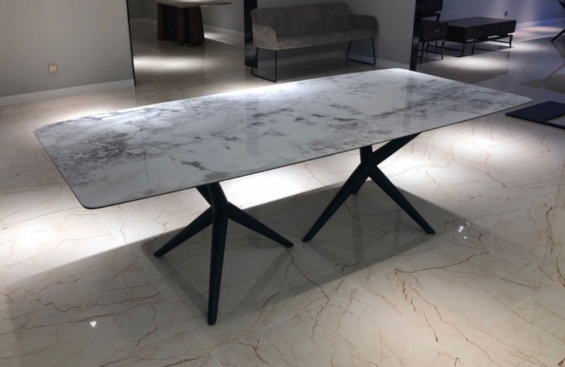 Stamford - Modern White Ceramic & Smoked Ash Dining Table
