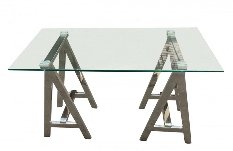 Omaha - Modern Glass & Stainless Steel Console Table