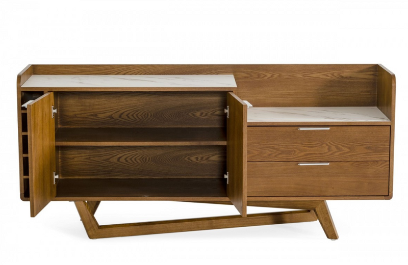 Jennifer - Contemporary Walnut & White Buffet